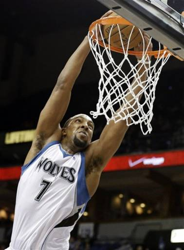 Minnesota Timberwolves' Derrick Williams dunks in the second half of an NBA basketball game against the New Orleans Hornets, Sunday, March 17, 2013, in Minneapolis. Williams led the Timberwolves with 28 points in their 97-95 win