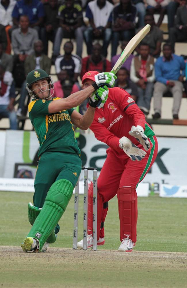 South African batsman Faf du Plessis plays a shot during the cricket One Day International against Zimbabwe in Harare Zimbabwe Thursday, Sept. 4, 2014