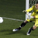 Real Salt Lake goalie Kyle Reynish makes a save for on a shot by the Chicago Fire during the second half of an MLS soccer game on Wednesday, May 9, 2012, at Toyota Park in Bridgeview, Ill. The game ended in a 0-0 tie The Associated Press