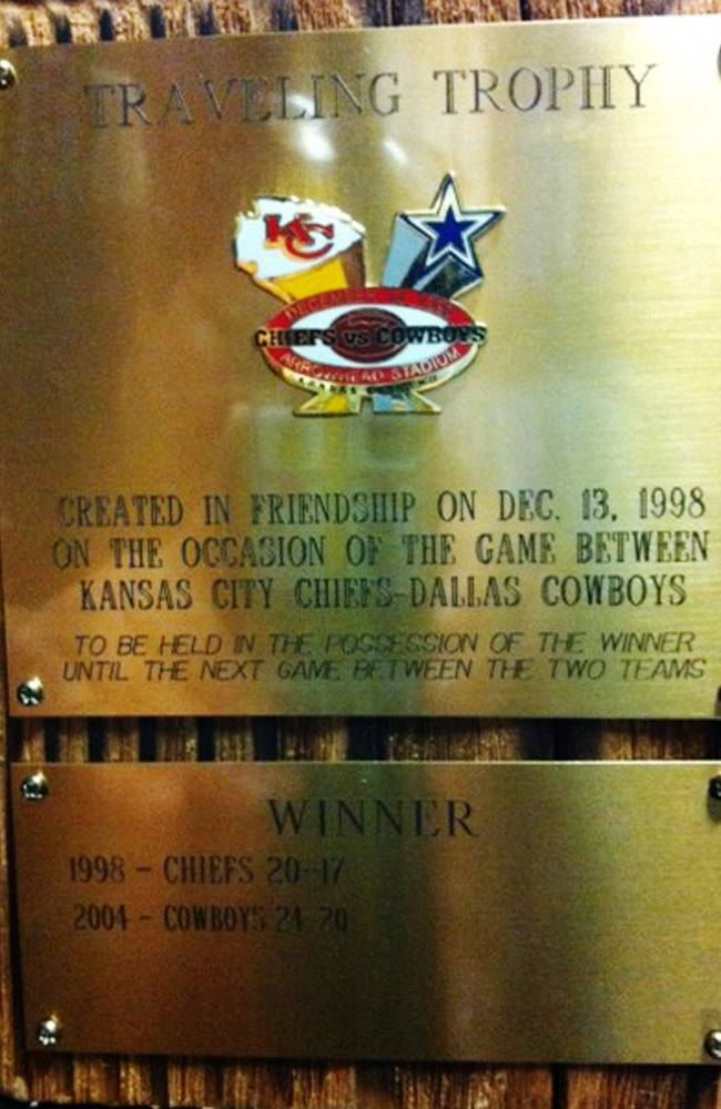 In this undated photo courtesy of the Dallas Cowboys, the Preston Road Trophy appears. The Cowboys and the Kansas City Chiefs compete head-to-head for the trophy, dreamed up by late Chiefs owner Lamar Hunt when he lived near Cowboys owner Jerry Jones