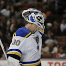 St. Louis Blues goalie Martin Brodeur wears his mask during the second period of an NHL hockey game against the Anaheim Ducks Friday, Jan. 2, 2015, in Anaheim, Calif. (AP Photo/Jae C. Hong)