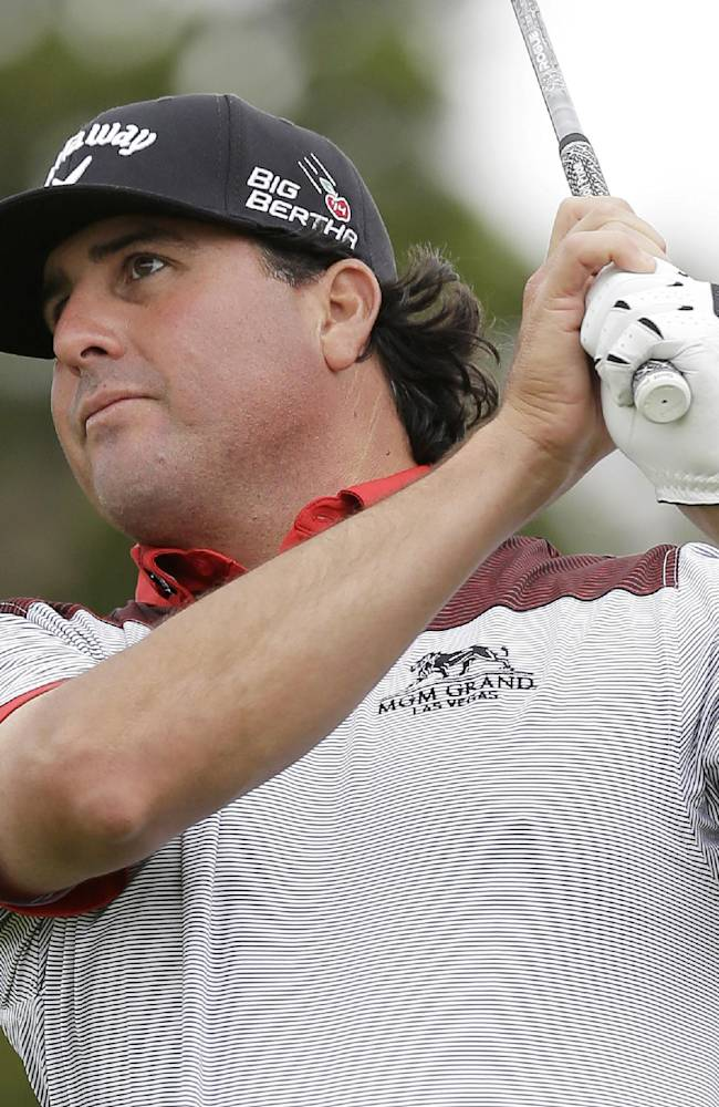 Pat Perez watches his tee shot on the 10th hole during the first round of the Valero Texas Open golf tournament, Thursday, March 27, 2014, in San Antonio