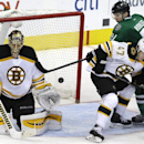 Boston Bruins defenseman Torey Krug (47) and goalie Tuukka Rask (40) defend the goal against Dallas Stars left wing Antoine Roussel (21) during the third period of an NHL hockey game Tuesday, Jan. 20, 2015, in Dallas. The Bruins won 3-1 The Associated Pr