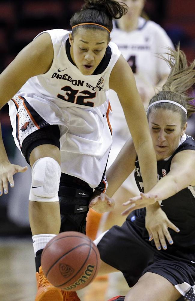 Oregon State's Deven Hunter, left, and Washington State's Sage Romberg collide as they chase a loose ball in the first half of an NCAA college basketball game in the Pac-12 women's tournament Saturday, March 8, 2014, in Seattle