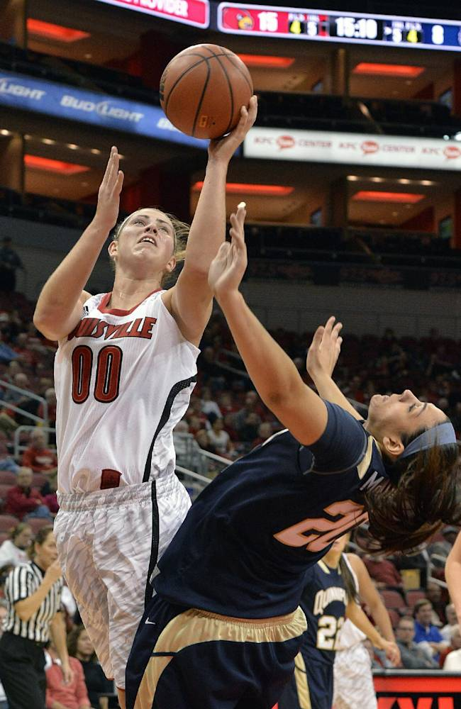 Louisville's Sara Hammond, left, gets a shot off over the defense of Quinnipiac's Brittany McQuain during the first half of an NCAA college basketball game, Monday, Nov. 11, 2013, in Louisville, Ky
