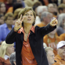 FILE - In this Feb. 27, 2011, file photo, Texas women's basketball coach Gail Goestenkors directs her team against Texas A&M during the second half of an NCAA college basketball game in Austin, Texas. Goestenkors was selected for the 2015 women's basketball Hall of Fame induction class announced Saturday, July 19, 2014. (AP Photo/Michael Thomas, File)