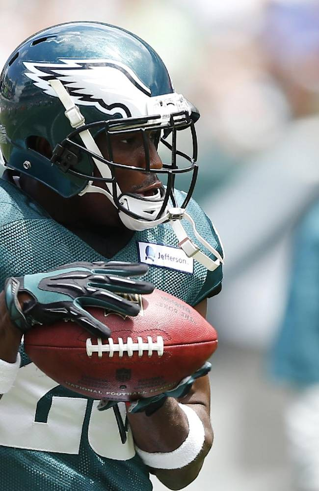 Philadelphia Eagles running back LeSean McCoy catches a pass during NFL football training camp Monday, July 28, 2014, in Philadelphia