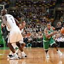BOSTON, MA - OCTOBER 29: Rajon Rondo #9 of the Boston Celtics drives against the Brooklyn Netsduring the game on October 29, 2014 at the TD Garden in Boston, Massachusetts. (Photo by Brian Babineau /NBAE via Getty Images)
