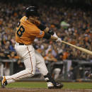 San Francisco Giants' Buster Posey hits an RBI double off Atlanta Braves relief pitcher Jim Johnson in the eighth inning of a baseball game Friday, May 29, 2015, in San Francisco. (AP Photo/Eric Risberg)