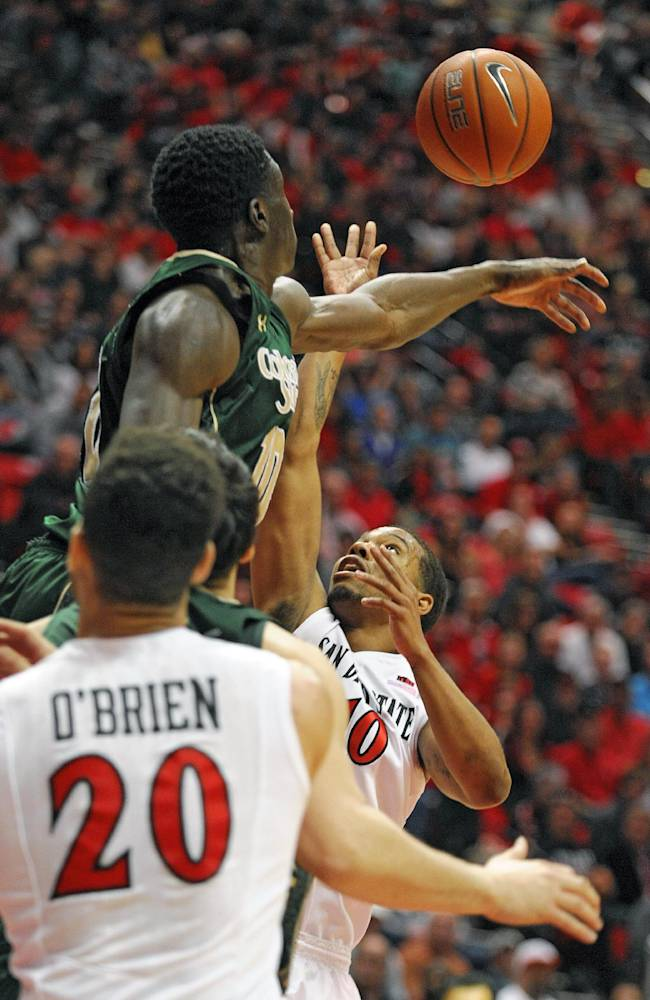 Colorado State's Joe Di Ciman (10) blocks a shot by San Diego State's Aqeel Quinn (10) during the first half of an NCAA college basketball game on Saturday, Feb. 1, 2014, in San Diego