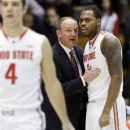 Ohio State head coach Thad Matta talks with forward Deshaun Thomas, right, during the first half of an NCAA college basketball game against Northwestern in Evanston, Ill., Thursday, Feb. 28, 2013. (AP Photo/Nam Y. Huh)