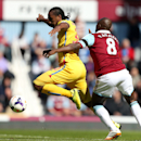 West Ham United's Pablo Armero, right, and Crystal Palace's Cameron Jerome compete for the ball during their English Premier League soccer match at Upton Park, London, Saturday, April 19, 2014