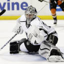 Los Angeles Kings goalie Martin Jones makes a save during the second period of an NHL hockey game against the Anaheim Ducks, Friday, Feb. 27, 2015, in Anaheim, Calif. (AP Photo/Jae C. Hong)