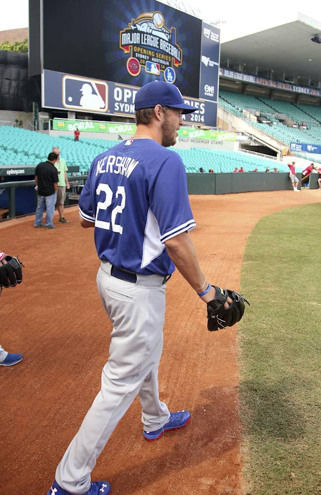 The Los Angeles Dodgers' Clayton Kershaw arrives for training at the Sydney Cricket ground in Sydney, Friday, March 21, 2014. Major League Baseball will open their season Saturday in Sydney with the Dodgers taking on the Arizona Diamondbacks