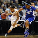 Connecticut guard Bria Hartley, left, sprints down court against Kentucky guard Bria Goss (13) in the first half of a women's NCAA regional final basketball game in Bridgeport, Conn., Monday, April 1, 2013. (AP Photo/Jessica Hill)