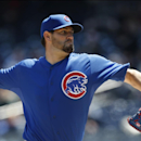 Chicago Cubs starting pitcher Jason Hammel delivers in the first inning of the first game of an interleague baseball doubleheader against the New York Yankees at Yankee Stadium in New York, Wednesday, April 16, 2014 The Associated Press