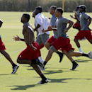 Arizona Cardinals' Antonio Cromartie, left, leads a group of players in sprints during the first phase of the voluntary offseason training program at the NFL football team's training facility on Thursday, April 24, 2014, in Tempe, Ariz The Associated Pres