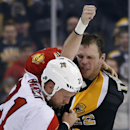 Florida Panthers right wing Krys Barch (21) fights with Boston Bruins right wing Shawn Thornton (22) during the second period of an NHL hockey game in Boston, Tuesday, March 4, 2014 The Associated Press