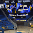 In this photo taken Tuesday, Oct. 23, 2012, a new video board at Pauley Pavilion on the UCLA campus in Los Angeles. The UCLA Bruins honor their championship past and address the future in the $132 million renovation to be unveiled on Nov. 9 when they host Indiana State in their men's basketball season opener. (AP Photo/Damian Dovarganes)