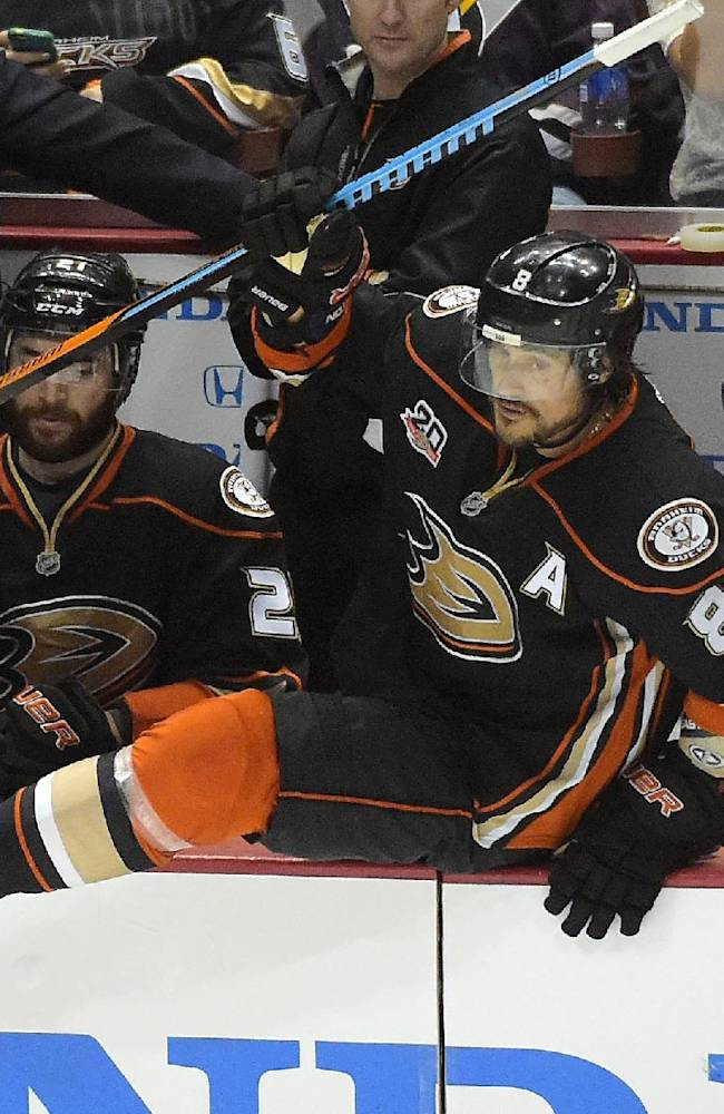 Anaheim Ducks right wing Teemu Selanne, of Finland,, center, takes to the ice for the last time in the game during the third period in Game 7 of an NHL hockey second-round Stanley Cup playoff series against the Los Angeles Kings, Friday, May 16, 2014, in Anaheim, Calif. The Kings won 6-2