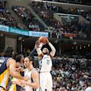 MEMPHIS, TN - APRIL 15: Vince Carter #15 of the Memphis Grizzlies shoots the ball against the Indiana Pacers on April 15, 2015 at FedExForum in Memphis, Tennessee. (Photo by Joe Murphy/NBAE via Getty Images)