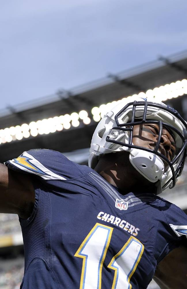 San Diego Chargers' Eddie Royal celebrates after scoring a touchdown during the first half of an NFL football game against the Philadelphia Eagles, Sunday, Sept. 15, 2013, in Philadelphia