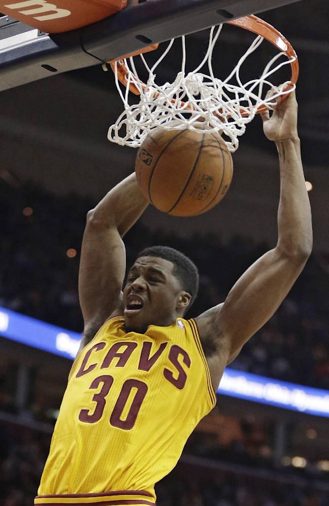 Cleveland Cavaliers' Carrick Felix dunks during the fourth quarter of an NBA basketball game against the Brooklyn Nets on Wednesday, April 16, 2014, in Cleveland. The Cavaliers defeated the Nets 114-85