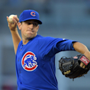 Chicago Cubs starting pitcher Kyle Hendricks throws to the plate during the first inning of a baseball game against the Los Angeles Dodgers, Friday, Aug. 1, 2014, in Los Angeles. (AP Photo/Mark J. Terrill)