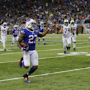 Buffalo Bills strong safety Duke Williams returns an interception pass thrown by New York Jets quarterback Michael Vick and returns it for 16-yards during the second half of an NFL football game in Detroit, Monday, Nov.24, 2014 The Associated Press