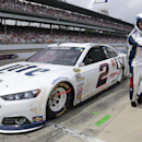Brad Keselowski pits during the Brickyard 400 auto race at Indianapolis Motor Speedway in Indianapolis, Sunday, July 27, 2014. (AP Photo/R Brent Smith)