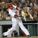 Washington Nationals' Ian Desmond breaks his bat as he grounds out during the fourth inning of a baseball game against the Los Angeles Angels, Monday, April 21, 2014, in Washington The Associated Press