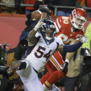 Denver Broncos outside linebacker Von Miller (58) breaks up a pass intended for Kansas City Chiefs tight end Anthony Fasano (80) in the second half of an NFL football game in Kansas City, Mo., Sunday, Nov. 30, 2014 The Associated Press