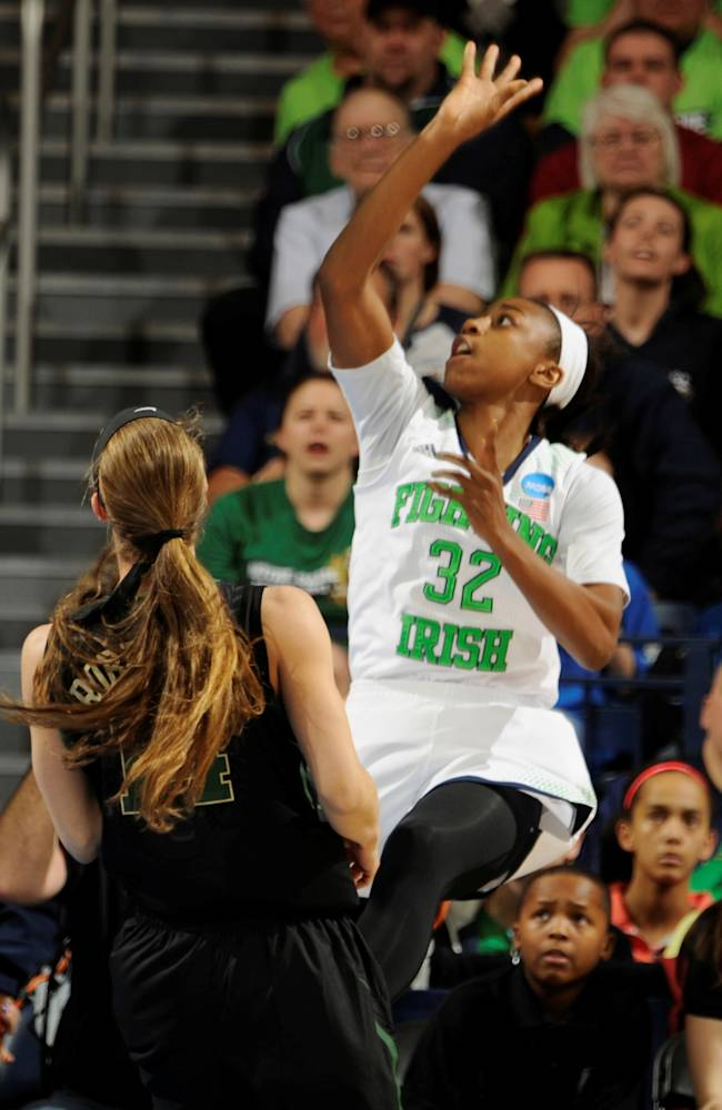 Notre Dame guard Jewell Loyd puts up a shot in the first half of their NCAA women's college basketball tournament regional final game at the Purcell Pavilion in South Bend, Ind Monday March 31, 2014