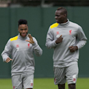 Liverpool's Raheem Sterling, left, and Mario Balotelli train at Melwood training ground, in Liverpool, Monday, Sept. 15, 2014. Liverpool will play Ludogorets Bulgaria in a Champion's League Group B soccer match on Tuesday