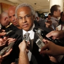 FILE - In this June 30, 2011, file photo,NBA Players Union chief Billy Hunter speaks to reporters after a meeting with the NBA in New York. Hunter has been unanimously voted out as executive director of the NBA players' association, Saturday, Feb. 16, 2013. (AP Photo/Mary Altaffer, File)