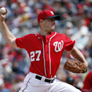 Washington Nationals starting pitcher Jordan Zimmermann throws during the third inning of a baseball game against the St. Louis Cardinals at Nationals Park on Saturday, April 19, 2014, in Washington The Associated Press