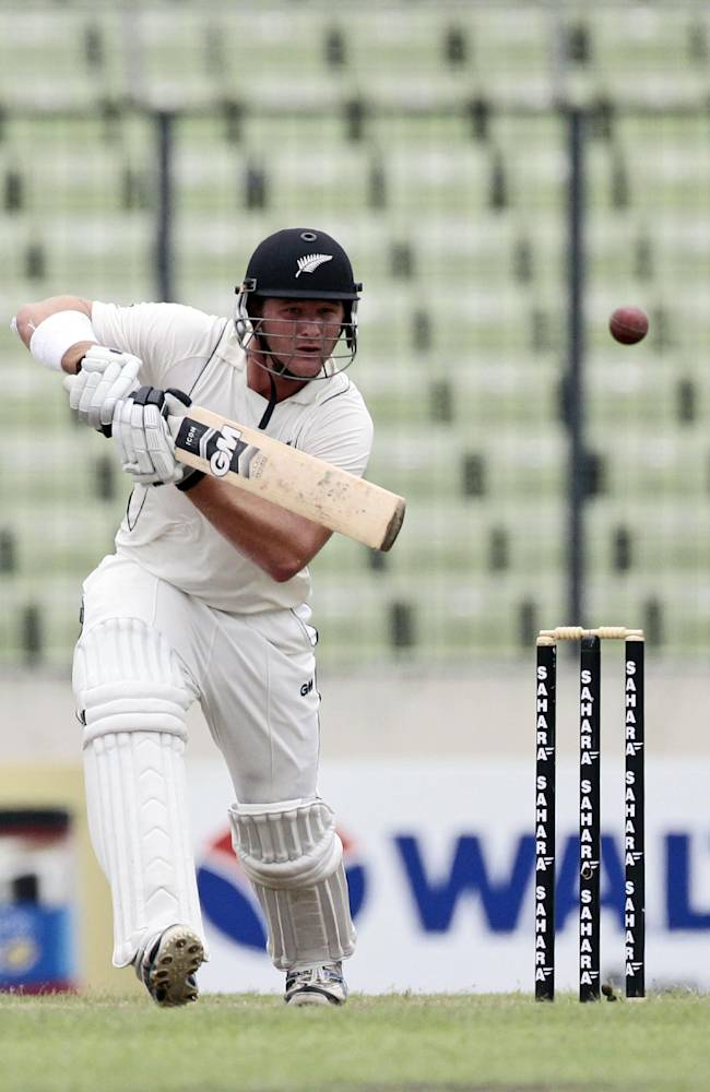 New Zealand's Corey Anderson bats on the third day of the second cricket test match against Bangladesh in Dhaka, Bangladesh, Wednesday, Oct. 23, 2013