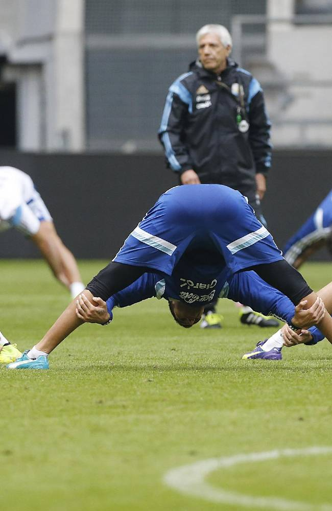 Argentina soccer players warm up during a training session ahead of the friendly soccer match between Germany and Argentina on Wednesday in Duesseldorf, Germany, Tuesday, Sept. 2, 2014