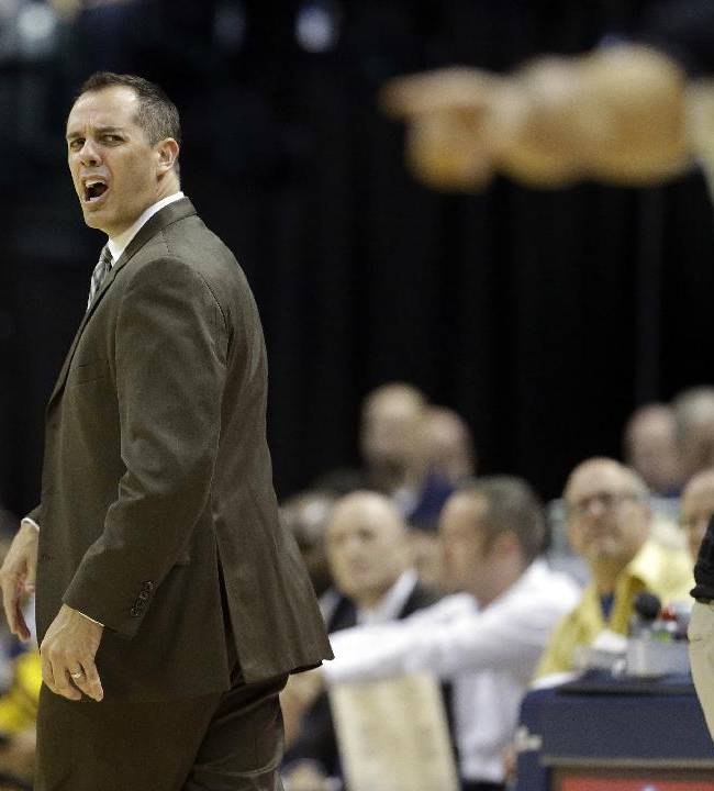 Indiana Pacers head coach Frank Vogel reacts to a call during the first half of an NBA basketball game against the Cleveland Cavaliers, Saturday, Nov. 2, 2013, in Indianapolis