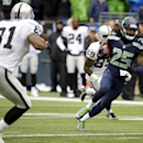 Seattle Seahawks cornerback Richard Sherman (25) runs after he made an interception against the Oakland Raiders in the first half of an NFL football game, Sunday, Nov. 2, 2014, in Seattle The Associated Press