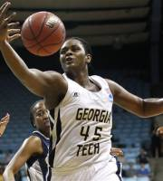 Georgia Tech's Sasha Goodlett (45) reaches for a rebound as Georgetown's Samisha Powell watches at rear during the first half of an NCAA tournament second-round women's college basketball game in Chapel Hill, N.C., Tuesday, March 20, 2012. (AP Photo/Gerry Broome)