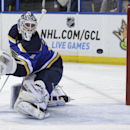 St. Louis Blues goalie Brian Elliott (1) watches a shot from Carolina Hurricanes' Jeff Skinner (53) sail past him into the net in the first period of an NHL hockey game, Saturday, Jan. 10, 2015 in St. Louis. Elliot was replaced in goal by teammate goalie