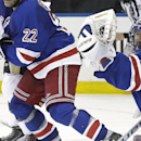 New York Rangers goalie Henrik Lundqvist (30), of Sweden, stops a shot on goal during the third period of Game 1 against the Pittsburgh Penguins in the first round of the NHL hockey Stanley Cup playoffs Thursday, April 16, 2015, in New York. The Rangers won the game 2-1. (AP Photo/Frank Franklin II)