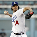 Los Angeles Dodgers starting pitcher Dan Haren throws to the plate in the first inning against the Colorado Rockies in a baseball game Saturday, Sept. 27, 2014, in Los Angeles The Associated Press