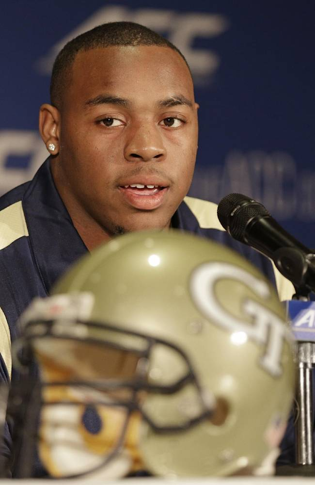 Georgia Tech's Shaquille Mason answers a question during a news conference at the Atlantic Coast Conference Football kickoff in Greensboro, N.C., Sunday, July 20, 2014