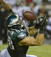 Philadelphia Eagles outside linebacker Connor Barwin (98) intercepts a Jacksonville Jaguars pass during the first half of an NFL preseason football game, Saturday, Aug. 24, 2013, in Jacksonville, Fla. (AP Photo/Phelan M. Ebenhack)