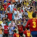Spain's Jordi Alba, 18, celebrates scoring the opening goal during the soccer Confederations Cup group B match between Nigeria and Spain at the Castelao stadium in Fortaleza, Brazil, Sunday, June 23, 2013. (AP Photo/Fernando Llano)