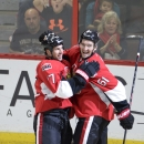 Ottawa Senators' David Legwand (17) and Mark Stone (61) celebrate Legwand's goal against the Colorado Avalanche during the second period of an NHL hockey game Thursday, Oct. 16, 2014, in Ottawa, Ontario The Associated Press
