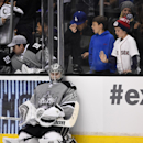 Los Angeles Kings goalie Jonathan Quick, left, waits for an overtime shootout to start as young fans look on during the third period of an NHL hockey game against the Anaheim Ducks, Saturday, April 12, 2014, in Los Angeles. The Ducks won 4-3 The Associate