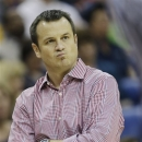 Louisville head coach Jeff Walz watches during first half of the national championship game against Connecticut at the women's Final Four of the NCAA college basketball tournament, Tuesday, April 9, 2013, in New Orleans. (AP Photo/Dave Martin)